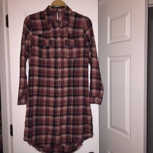 Free People Plaid Button Down Long sleeve dress XS